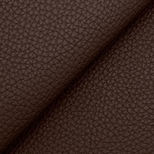 DESHOME Bufalo - Tessuto al Metro Similpelle Idrorepellente anti screpolatura Stoffa Ecopelle h 140 cm per divani, sedute, tappezzeria (Marrone scuro, 1 metro)