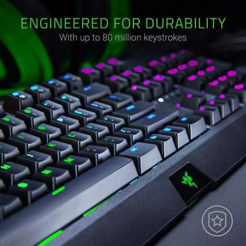 Razer BlackWidow (Green Switch) - Gaming Tastatur mit mechanischen Schaltern (Taktil & klickend, programmierbar, Kabel-Management, RGB Chroma Beleuchtung) QWERTZ | DE-Layout, Schwarz