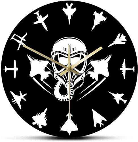 Reloj De Pared Avión De Reacción Militar Reloj De Pared Moderno Jet Fighter Reloj De Pared Silencioso Arte De Pared De Aviación Piloto De Avión Decoración Del Hogar Regalo De Piloto 30X30Cm