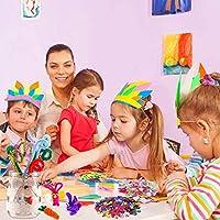 PANSHAN Lavoretti Creativi per Bambini-1320+ DIY Art Craft Set, Wiggle Occhi, Glitter Palla Pompon e Scovolini Pipa Ciniglia, Sticks, Piume, Bottoni, Feltro, Kids Mestiere Fai da Te Decorazioni #5