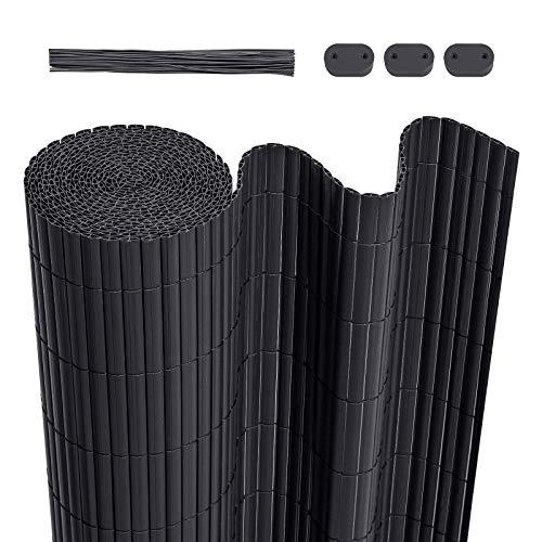 LARMNEE PVC Sichtschutzmatte, 90 x 400 cm Balkonverkleidung, Sichtschutzzaun, mit verstärkten Lamellen und Kablebindern, Balkonumrandung, Garten, Balkon, Dunkelgrau EGY094LB02
