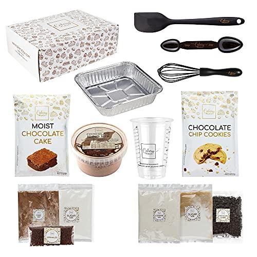 DIY Baking Activity Kit - Chocolate Chip Cookie Mix & Moist Chocolate Cake Mix, Chocolate Icing, Baking Set & Baking Utensils for Adults, Teens, & Kids Baking (Chocoholic Box)