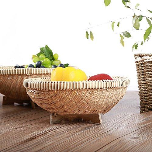 XBR-Storage Basket Xbrdry Panier Panier en Bambou décoré Salle à Manger Sec bac de Rangement Panier