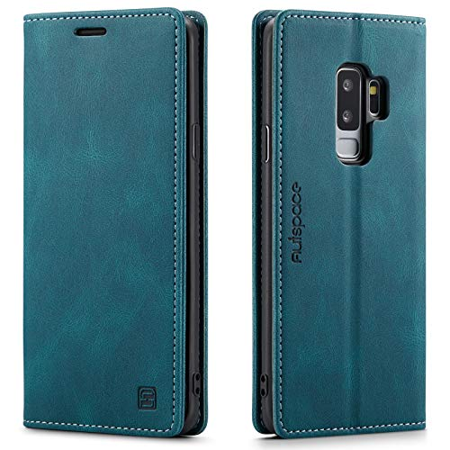 LOLFZ Hülle für Samsung Galaxy S9, Vintage Dünne Leder Handyhülle mit RFID Schutz Kartenfach Ständer Magnetische Flip Schutzhülle Kompatibel mit Galaxy S9 - Blau