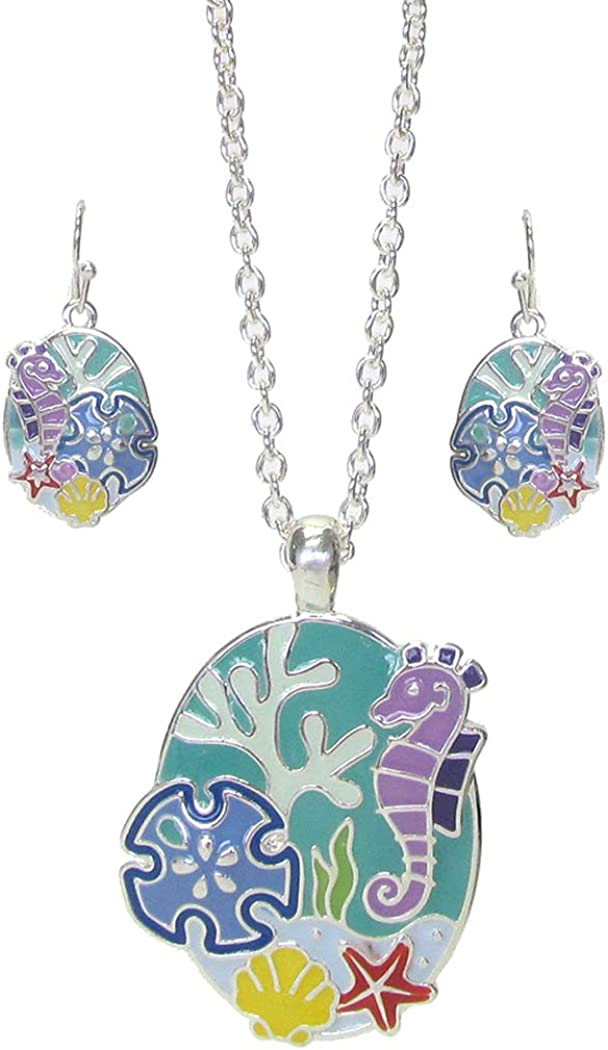 Fashion Jewelry ~ Seahorse Pendant Necklace and Earrings for Women Girls Teens Girlfriends Birthday Gifts