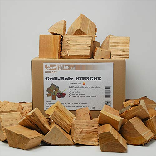 Landree® Kirsche BBQ-Grillholz 4 kg - Wood Chunks Natural-Fire -(saubere) Alternative zu Kohle oder Briketts