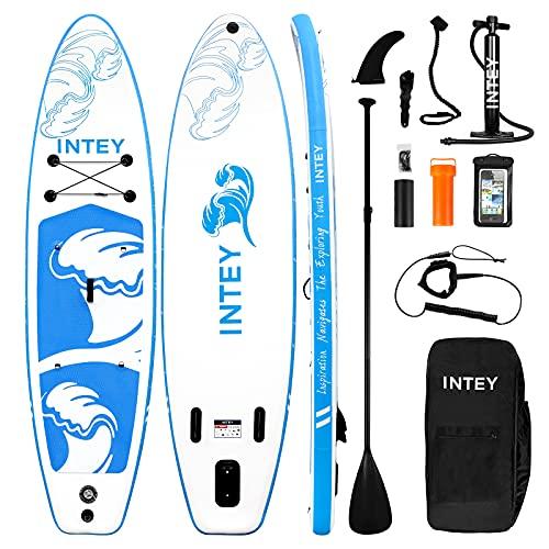 INTEY Tabla Paddle Surf Hinchable, Sup Paddle Remo Ajustable, Tabla Stand Up Paddle Board, Bomba de Doble, Seguridad