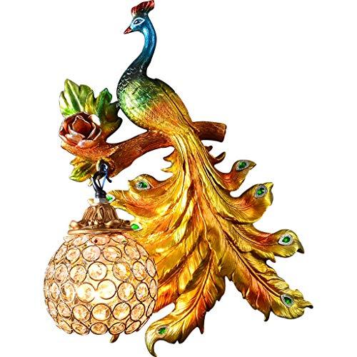 CJH Européen Américain Rétro Atmosphère Peacock Applique Créative Salon Salle À Manger Corridor Allée Fond Applique Droite