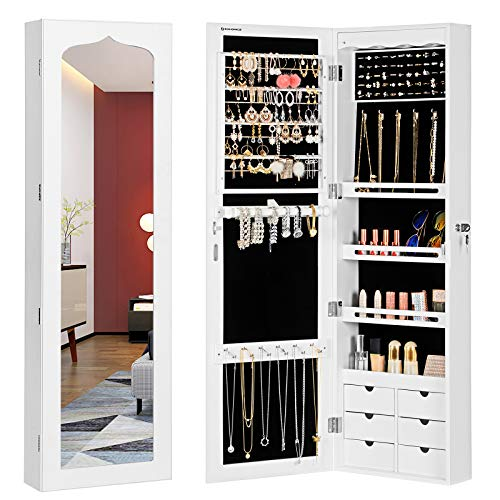 SONGMICS LED Jewelry Cabinet Armoire with 6 Drawers Lockable Door/Wall Mounted...