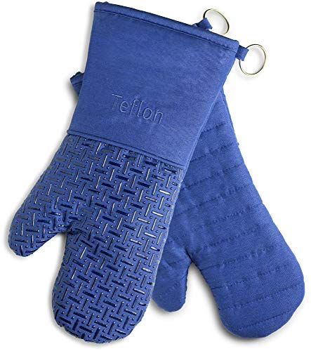 XLNT Extra Long Oven Mitts (Blue) | Teflon Heat Resistant, Water Repellent Kitchen Gloves for Oven Cooking, Grill & BBQ | Non Slip Silicone Gloves with Eco Elite Coating, Cotton Lining & Hanging Loop