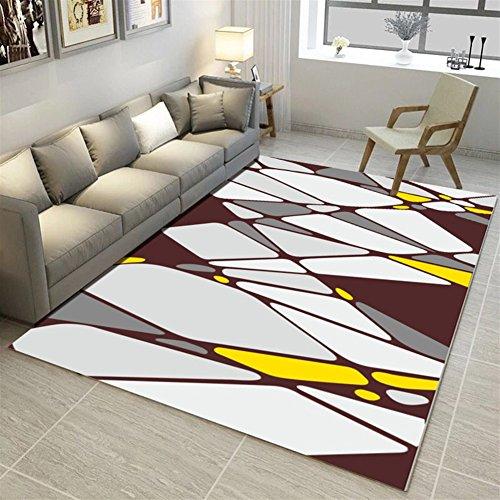 Ommda tappeti Salotto Soggiorno Moderni Home 3D Geometric Printing tappeti  Soggiorno Pelo Corto Antiscivolo Lavabili Multicolore 80x160cm 9mm