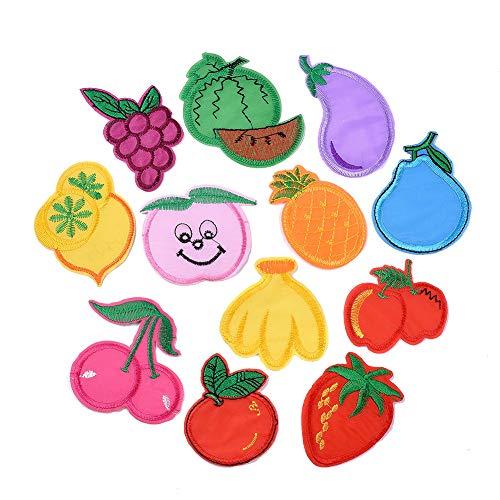 PandaHall 120 parches de 12 estilos de frutas para coser y planchar y bordar, para ropa, vaqueros, chaquetas, zapatos, camisetas, sombreros, bolsos, accesorios de bricolaje