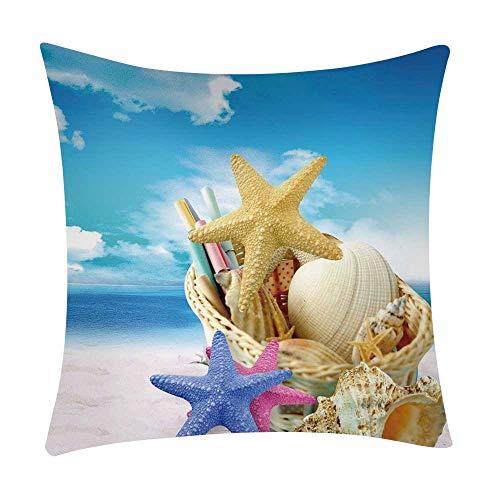 Mamum - Couverture de Coussin de Voiture de Sofa de Polyester de taie d'oreiller d'impression de mer décor à la Maison (F)
