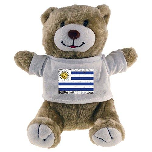 Oso de peluche con bandera de Uruguay retro Beige