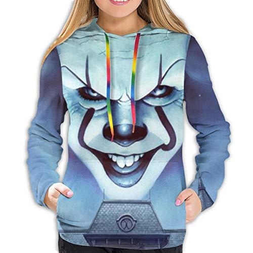 Pennywise IT Chapter Hoodies Damen Sweatshirt Pullover 3D Print Casual Jacke Mädchen Hoodie Tops Gr. L, Schwarz