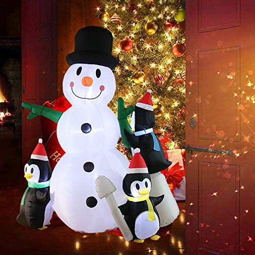 Kurala 8 FT Inflatable Lighted Snowman with Penguins Christmas Decoration Outdoor Blow Up with LED Lights