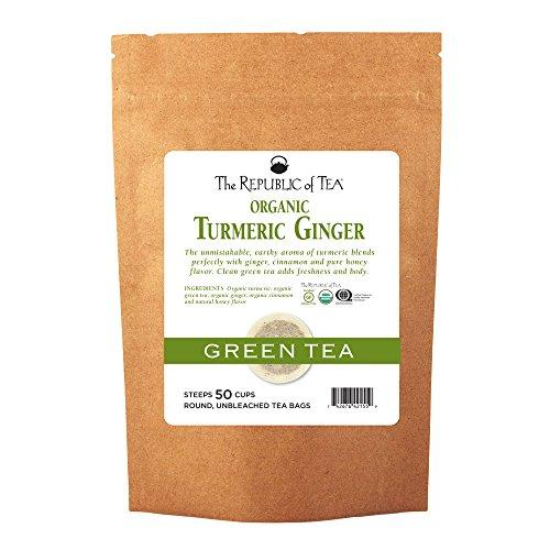 The Republic of Tea Organic Turmeric Ginger Green Tea, 50 Tea Bags, Gourmet Green Tea And Turmeric Tea