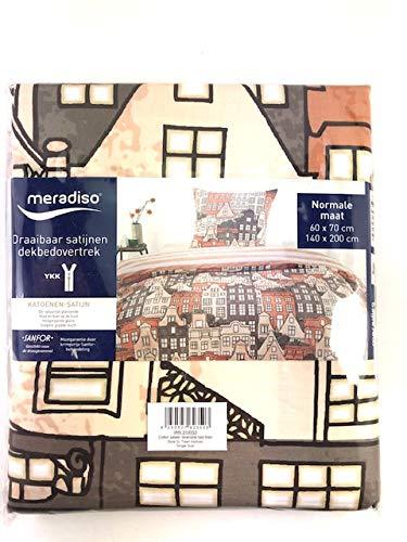Meradiso Bettbezug mit Wendekissen Saten mit Reißverschluss, bedruckt mit Häusern, Maße: 140 x 200 cm und 60 x 70 cm