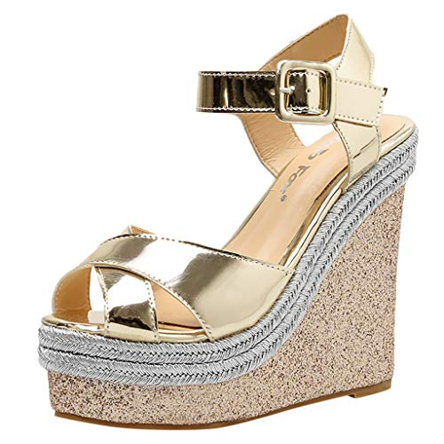 Best Buy! KCPer Women Ankle Strap Platform Wedges Sandals High Heel Wedge Sandals Dress Shoes Peep Toe Sandals