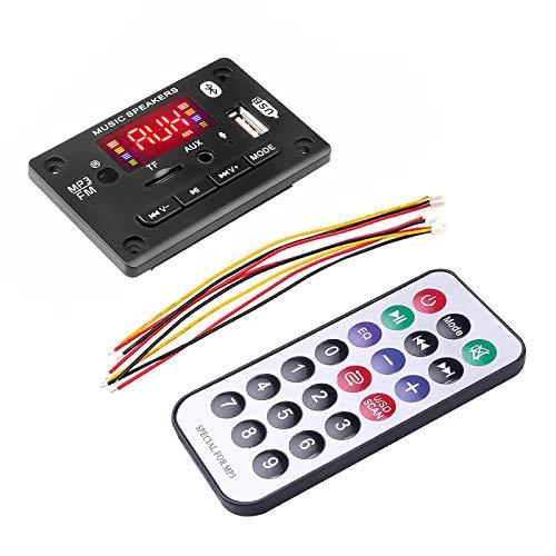 USDWR Decoder de Reproductor de MP3 Manos Libres 12V Bluetooth 5.0 Manos Libres Reproductor de MP3 Decoder Tablero Coche FM Módulo de Radio Soporte FM TF USB AUX grabadoras (Color : Black)