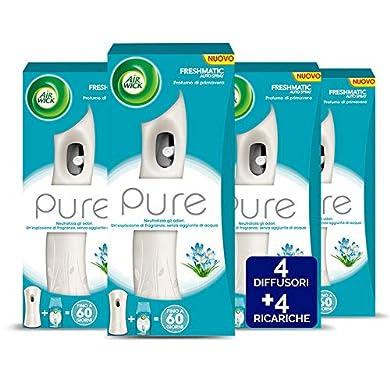 Foto di Airwick Profumatore per Ambienti Spray Automatico Freshmatic - 1 Confezione con 4 Diffusori e 4 Ricariche, fragranza Pure Profumo di Primavera - Ricarica da 250 ml