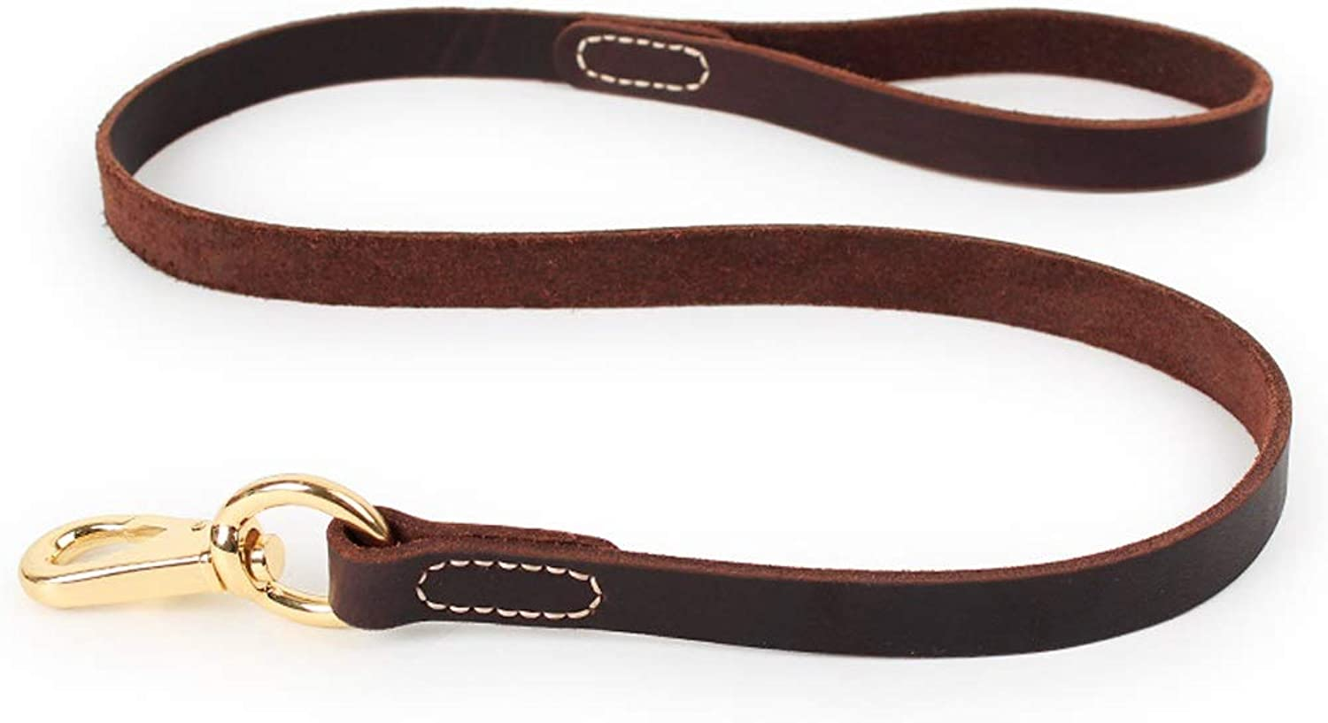 Dog Leash Large Medium Dog Canine Dog Rope Dog Chain Cowhide Material Is Not Easy To Wear Black Brown KGMYGS (color   Brown, Size   M)
