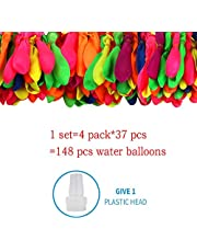 Water Balloons, 148 Self-Sealing Water Balloons in 4 Bunches (Assorted Colors)