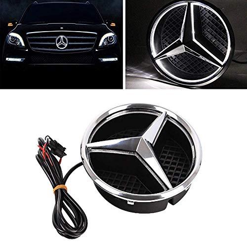 Logotipo de la Parrilla Delantera del Coche de la Estrella Emblema de LED Iluminado Centro Placa Frontal luz de la lámpara para Mercedes Benz 2013-2015 A B C E R GLK ML GL CLA CLS CLAS,White Light