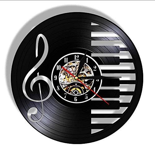 Reloj de Pared Notas Musicales Disco de Vinilo Reloj de Pared Elegante Teclas de Piano en Blanco y Negro decoración de Pared luz Clave de Sol símbolo músico -Sin LED