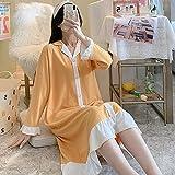 Mujer De Algodón Camisón,Camisones De Mujer Mangas Largas Amarillo Moda Estilo Princesa Lindo Camisón Con Volantes Suave Y Suelto Cuello En V Bata Informal Camisón Largo Ropa De Hogar De Inviern