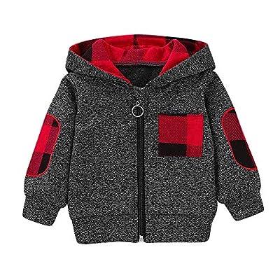 KONFA Toddler Baby Boys Girls Stylish Plaid Floral Pocket Hooded Coat,Kids Jackets Stretchy Cloak Tops Clothes (Black, 3-6 Months)