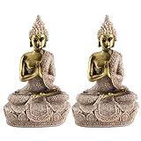 YAOTAOsm 2 Unids/ Set de Resina de Arenisca Estatua de Buda Sentado Escultura Fengshui Figurita Ornamental Decoración del Hogar
