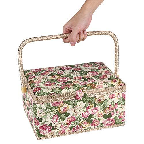 Garden Rose naaidoos (G-type), Jadpes-stof Bloemen bedrukt naaimand Ambachtelijke doos Diversen Diversen Organizer met handvat Ingebouwd speldenkussen Binnenzak