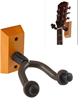 Mike Home Heavy Duty Wall Mount Display Guitar Hanger Wood Base Guitar Hook Fits Guitars,Bass,Ukulele Pack of 1