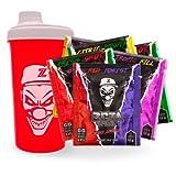 ZETA DRINKS Bebida Energética para gamers en polvo | Pack degustación 8 muestras (sandía, frutos rojos, piña colada y limón) + Shaker | Energía para Esports Y Creadores | 8 Raciones (Rojo)