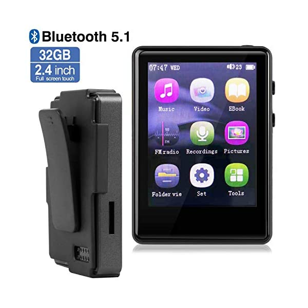 MP3 Player Player with Bluetooth, 32GB Clip MP3 Player with FM Radio/Voice Recorder, Music Player with Touch Full Screen, Video Play, 2.4Inch MP3 Player for Running, Expandable 128GB TF Card