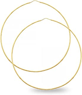 14k Yellow Gold Big Round Hoop Earrings Endless Diamond Cut Textured Style Polished Fancy (Size Options)