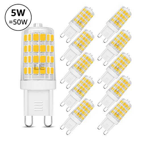 LE G9 Lampadina LED da 5W, 5W Pari a Lampada Alogena da 50W, 340 Lumen, Luce Bianca Calda 3000K per Lampade, 51x2835 SMD Risparmio Energetico Lampada, 10 Pezzi