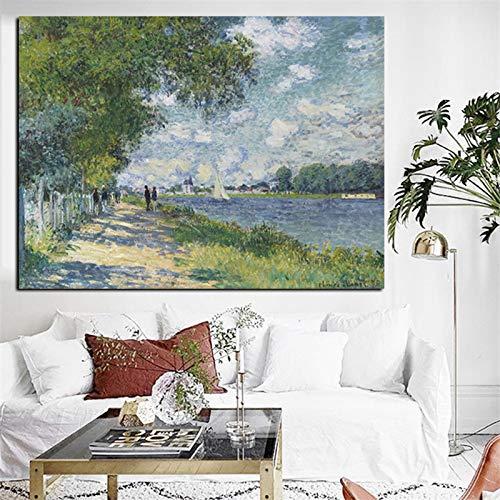 SADHAF HD afdrukken Beroemde schilder Monet impressionist landschap schilderij olieverfschilderij op huis decoratie muurschildering 50x70cm (no frame) A3