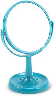 Vanity Mirror Desktop Makeup Mirror Speaker Design Base 360 Degree Free Rotation Bracket ABS HD for Family Dressing Room (Color : Blue, Size : 27.5 * 18.5cm)