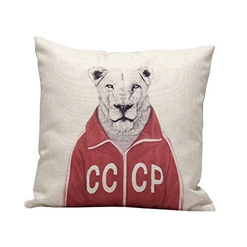 iHome Kussensloop Decoratieve Case Dier, Katoen linnen, ruimte 45 x 45 cm, Herr Leopard met rode jas (Beige)