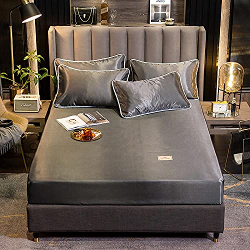 Unterbett Soft-Matratzen-Topper, Matratzenschutz Boxspring-Betten geeignet Bettlaken Pure Color-Dark Grey_1.2m