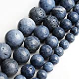 Love Beads 8mm Natural Blue Coral Round Loose Beads for Jewelry Making 15inch Beads