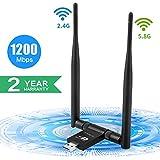 WiFi USB Adaptador 1200Mbps, SUPOLA Antena WiFi 5dbi Wireless...