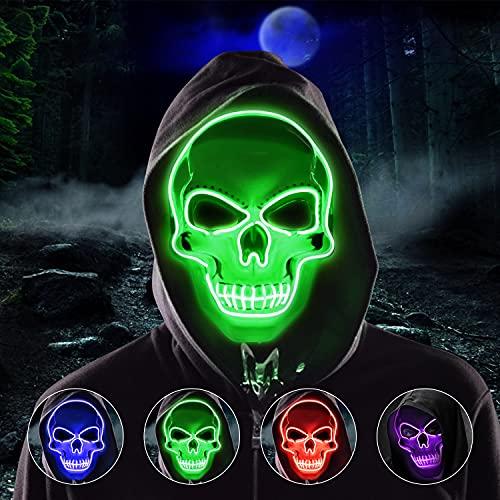 Molbory LED Purge Maske, Halloween Maske, LED Grusel Maske im Dunkeln Leuchtend, Halloween Purge Maske mit 3 Beleuchtungsmodi für Kostümspiele Cosplays Feste und Partys(Grün)