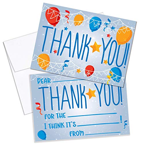 Thank You Cards Kids Birthday Party Thank You Notes. 25 Fill in the Blank Thank You Notes for Kids, Children, Toddlers, Boys, Girls with Envelopes