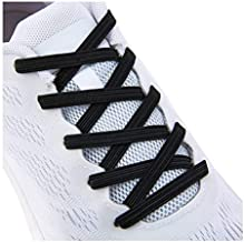 No Tie Tieless Shoe Laces for Adults Kids Shoes , One Size Fits All Elastic Shoelaces for Sneakers Black
