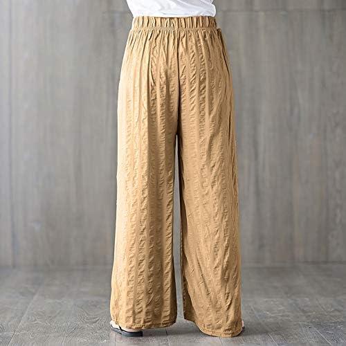 KTKZSS Vintage Femmes Taille Haute Larges Jambes Pantalons Mode Été Automne Rayé Taille Élastique Coton Lin en Vrac Casual Pantalon Kaki
