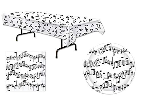 Music Note Tablecover Napkins Dinner Plates 33 Piece Bundle Set for 16