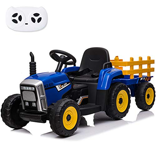 sopbost 12V Electric Ride on Tractor with Remote Control, 2+1 Shift Knob Stick, Trailer, Simulation Horn Button, 7-LED Headlight, MP3 Player with Bluetooth Ride on Toys for Kids Blue